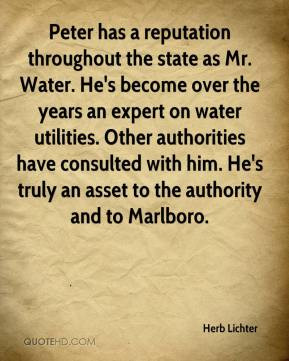 Peter has a reputation throughout the state as Mr. Water. He's become ...