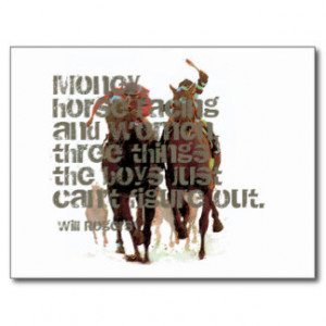 Will Rogers Horse Racing Quote Postcards