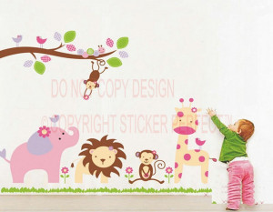 Lion Monkey Elephant Stickers Nursery PEEL and STICK cute quotes ...