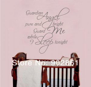 funlife]- ANGEL GUARDIAN Baby Room Wall Quote Wall Saying Art Mural ...