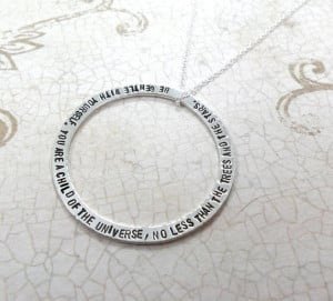 Custom Quote Necklace Sterling Silver Washer (Free Shipping)