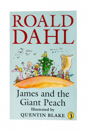 childrens book called James and the Giant Peach on a white background ...