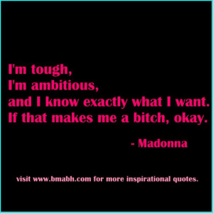 Strong women quote-I'm tough, I'm ambitious, and I know exactly what I ...