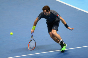 Andy Murray Andy Murray of Great Britain plays a backhand in the round