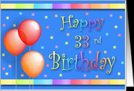 33 Years Old Balloons Happy Birthday Fun card - Product #191416