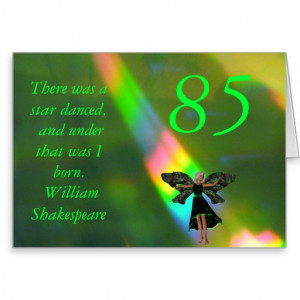 85th Birthday Shakespeare Quote Birthday Card Greeting Card