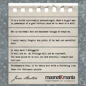 Pride and Prejudice Quotes, magnetiKmania - Original Fridge Magnets 2 ...