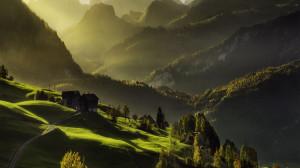 Download Wallpaper Morning mountain hills - 1366x768