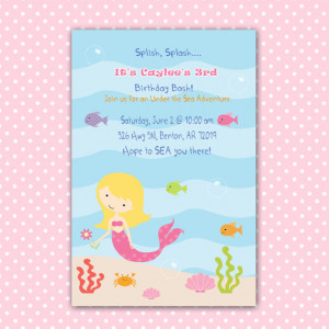 Mermaid Birthday Invitation Girl - Under The Sea Birthday Party ...