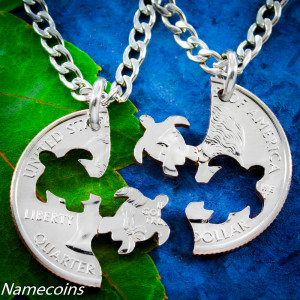 Turtle Necklace friendship necklaces Interlocking Love Necklace Set ...