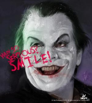 ... paints Jack Nicholson as the Joker from Batman with an evil grin
