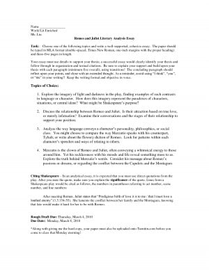 Five Paragraph Romeo and Juliet Essay Mla Format - DOC