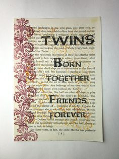 Twin Quotes Boy And Girl Twin sister quote print on a