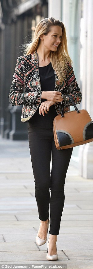 Petra Nemcova teams her all-black ensemble with an embellished cropped ...