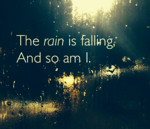 lonely girl in rain with quotes