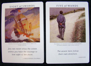 The 8 of Wands (below) typically means for me communication, speed ...