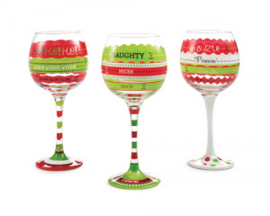 ... :: Fill To Here Christmas Wine Glasses 3 Designs (Sold Separately