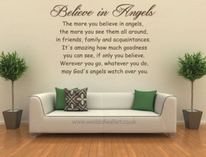 Believe In Angels Wall Quote Sticker