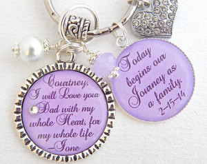... Wedding Keychain I will love you with my whole heart Wedding Quote