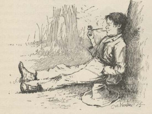 Huck Finn, illustration by E.W. Kemble from the 1885 edition of Mark ...