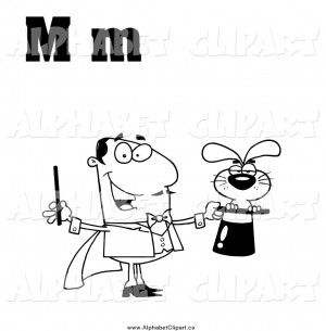 ... Illustration of a Black and White Magician with Letters M by Hit Toon