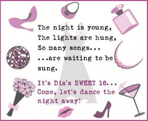 Sweet Sixteen Invitation Wording