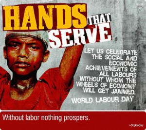 Hands That Serve Labour Day With Many Movable Quotes On Red Table.