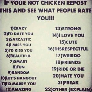 dont be a chicken!!!!