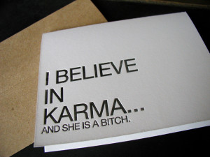 believe in karma greeting card from creativity