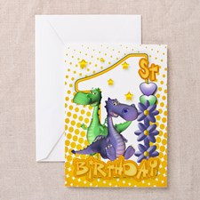 Twins First Birthday Card - Cute Dragons for