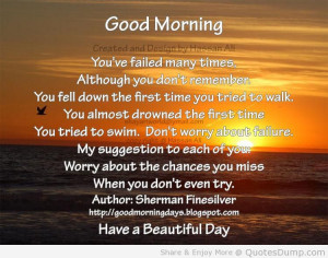 morning quotes Dont Worry About Failure Good Morning Quote | Quotes ...