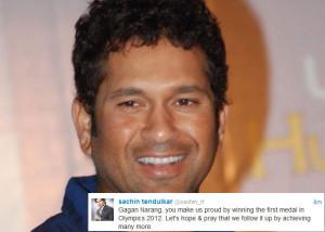 Sachin Tendulkar : Gagan Narang, you make us proud by winning the ...