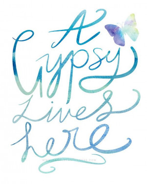 Gypsy Lives Here - Boho Bohemian Quote Quote (in Blue Aqua Green ...