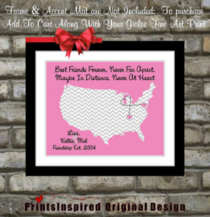Best Friend Birthday Gift Long Distance Friendship Map: Quote Moving ...
