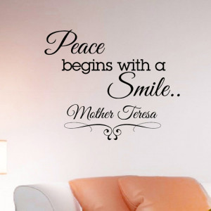 Wall Decals Quotes Mother Teresa Peace Begins With A Smile Decal ...