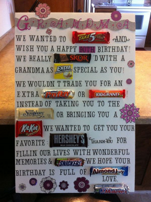 Candy Bar Poster for 90th Birthday of Grandma, source