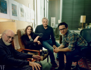 ... Kathleen Kennedy, scenarist Lawrence Kasdan en regisseur J.J. Abrams