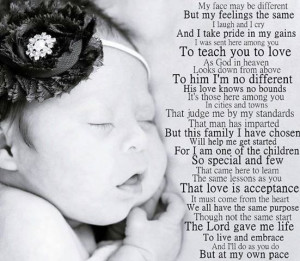 Down syndrome poem.....just beautiful!