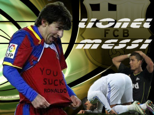 Messi you suck ronaldo Wallpaper