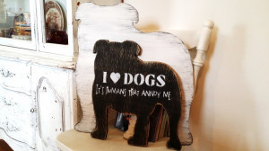 Home Decor > English Bulldog art, funny dog art, customized dog quote ...