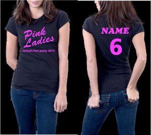 GREASE PINK LADIES PERSONALISED HEN HOLIDAY EVENT T-SHIRT