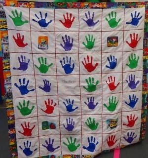 ... Teachers Quilt, Teachers Gift, Teachers Appreciation, Handprint Quilt