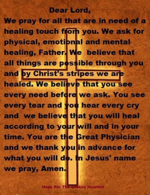 Healing Prayer- take a moment and pray for all those who are sick. I ...