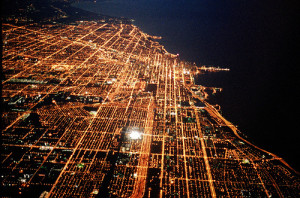 birdview, city, lights, night, streets