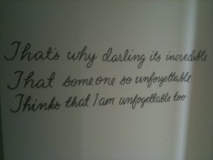 Quotes are hand painted on the walls of each dressing room.