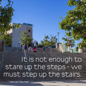... to step up the stairs.