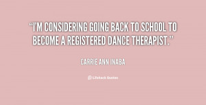 considering going back to school to become a registered dance ...