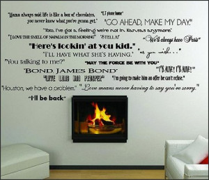 Classic Movie Quotes wall saying vinyl lettering home decor decal ...