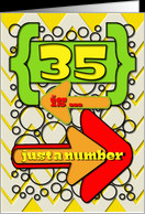 Happy 35th Birthday Just a Number Funny Chevrons and Polka Dots card ...