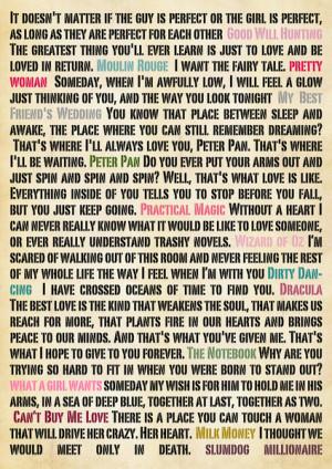 Romantic Movie Quotes Poster Print Art Print
